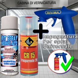 vernice spray ritocco auto base opaca  con trasparente 2k acrilica luciada + impugnatura universale per bombolette spray