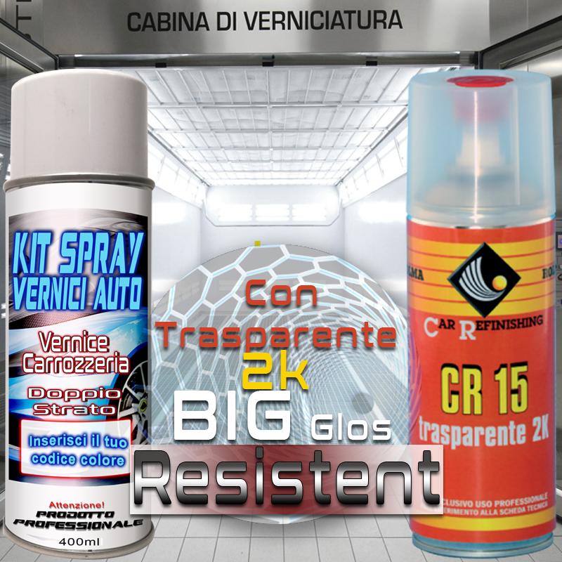 vernice spray ritocco auto base opaca   con trasparente 2k acrilica lucida e resistentissima