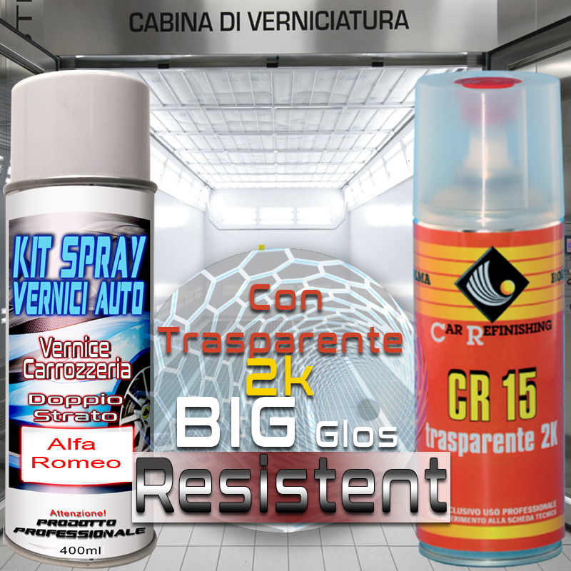 Bomboletta spray con trasparente 2k 243A VERDE MONTREUX Metallizzato o perlato 2004 2006 Alfa romeo