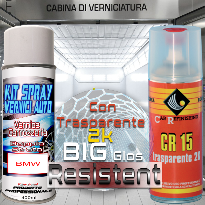 Bomboletta spray con trasparente 2k 052 HENNAROT Pastello 1977 1987 Kit bombolette spray BMW bmw