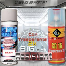 Bomboletta spray con trasparente 2k A76 TIEFSEEBLAU Metallizzato o perlato 2007 2013 Kit bombolette spray BMW bmw